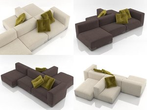 3D model plastics duo sofa 8
