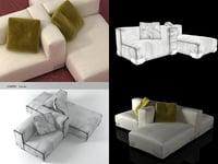 3D plastics duo sofa 6