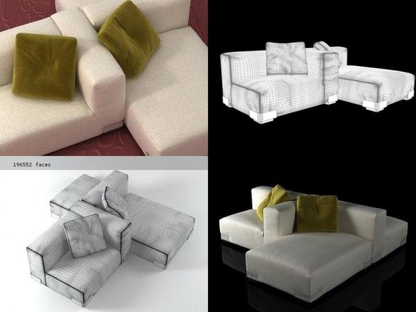 3D plastics duo sofa 6
