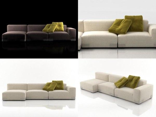 3D plastics duo sofa 4 model