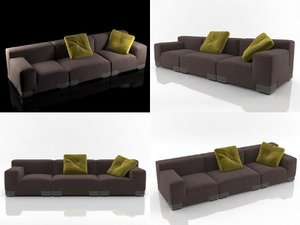 3D plastics duo sofa 3