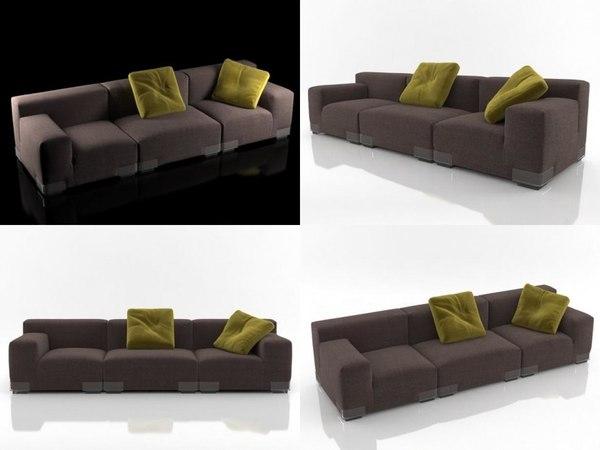 3D plastics duo sofa 3