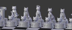 3D model cat chess print