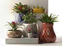 3D model leta pots plants