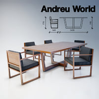 3D andreu world table chair