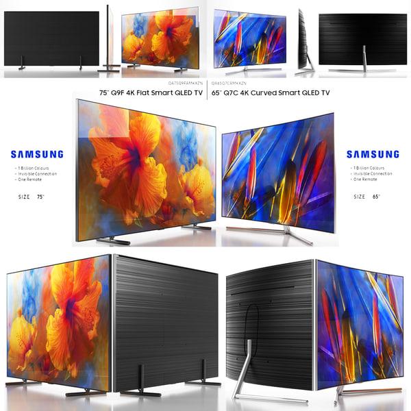 samsung tv flat curved 3D model