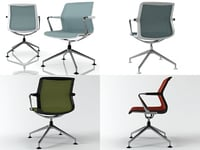 3D unix chair 4-star base model