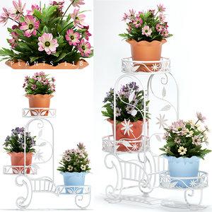 3D flower pots stand model