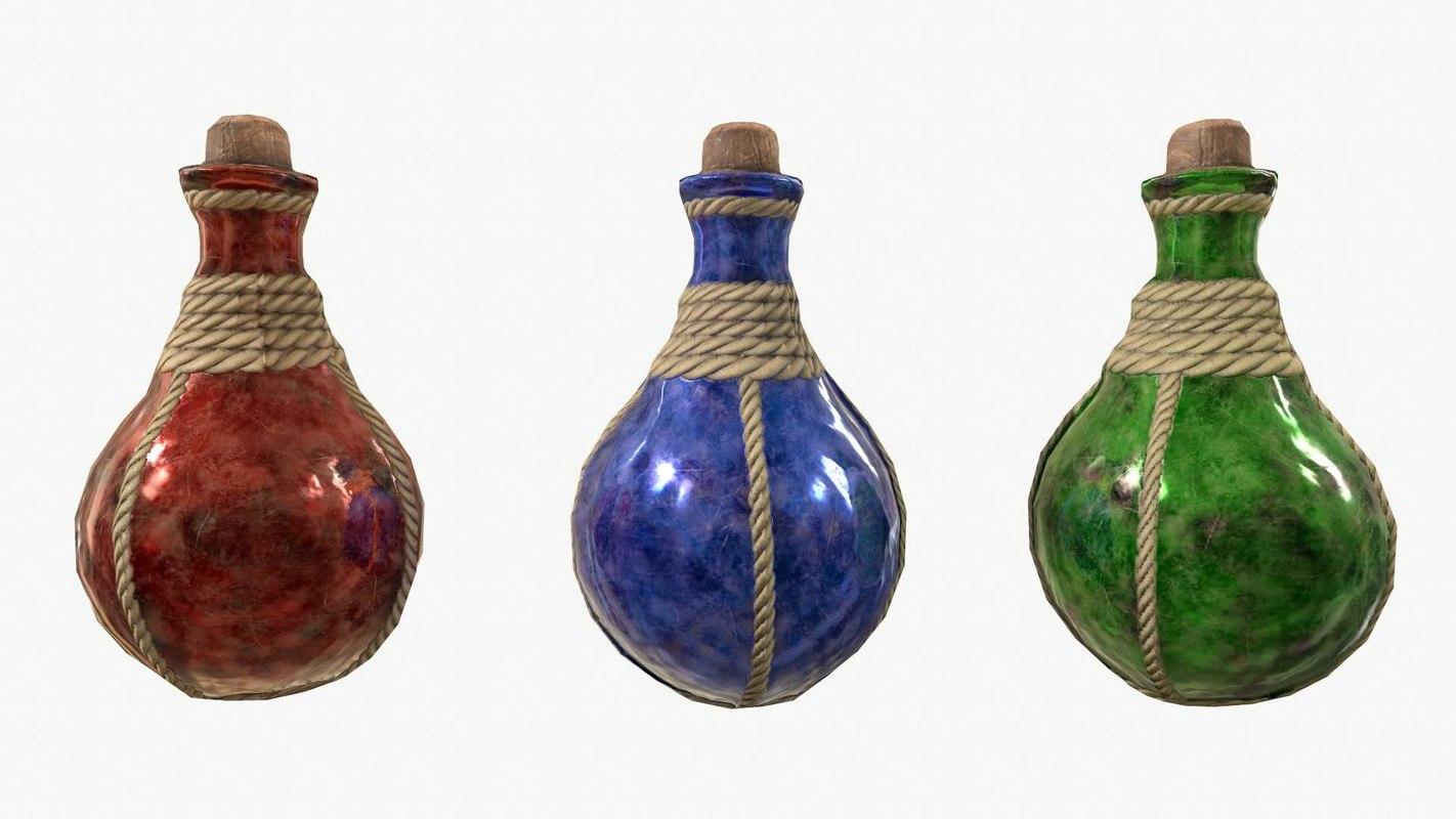3D fantasy rpg potion bottle model