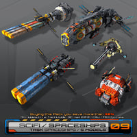 3D model 5 low-res task spaceships