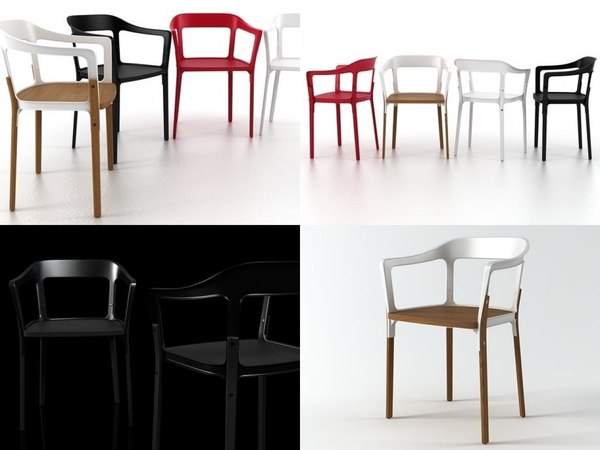 3D steelwood chair model