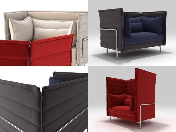 3D model alcove love seat
