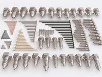 set screw bolt nuts 3D model