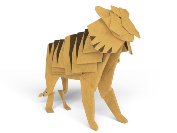 origami tiger 3D model