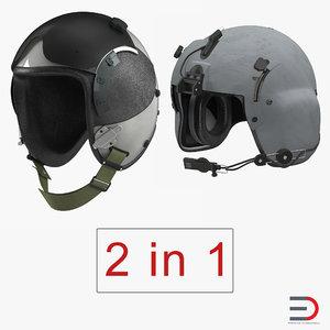 military pilot helmets 3D model