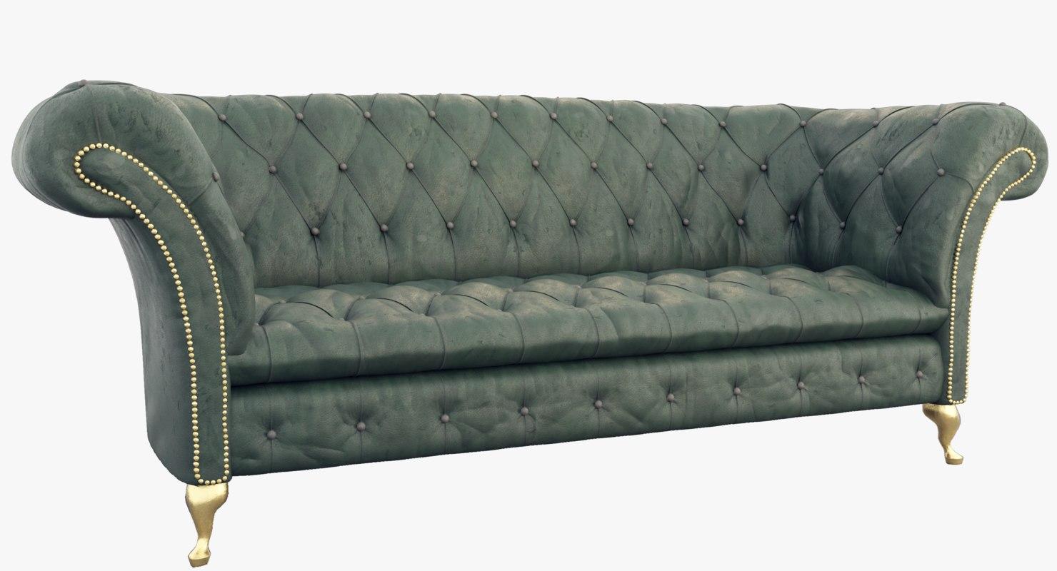 3D green chesterfield sofa