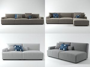 soho low-arm sofa 3D model
