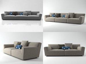 soho middle-arm sofa 3D model