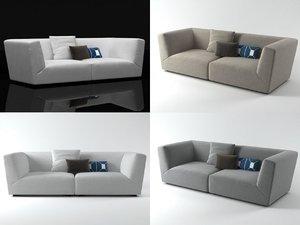 3D soho high-arm sofa model