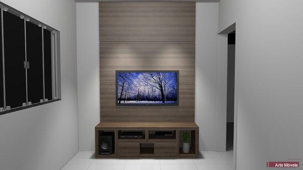 3D shelf living room model