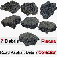 debris pieces road asphalt 3D model