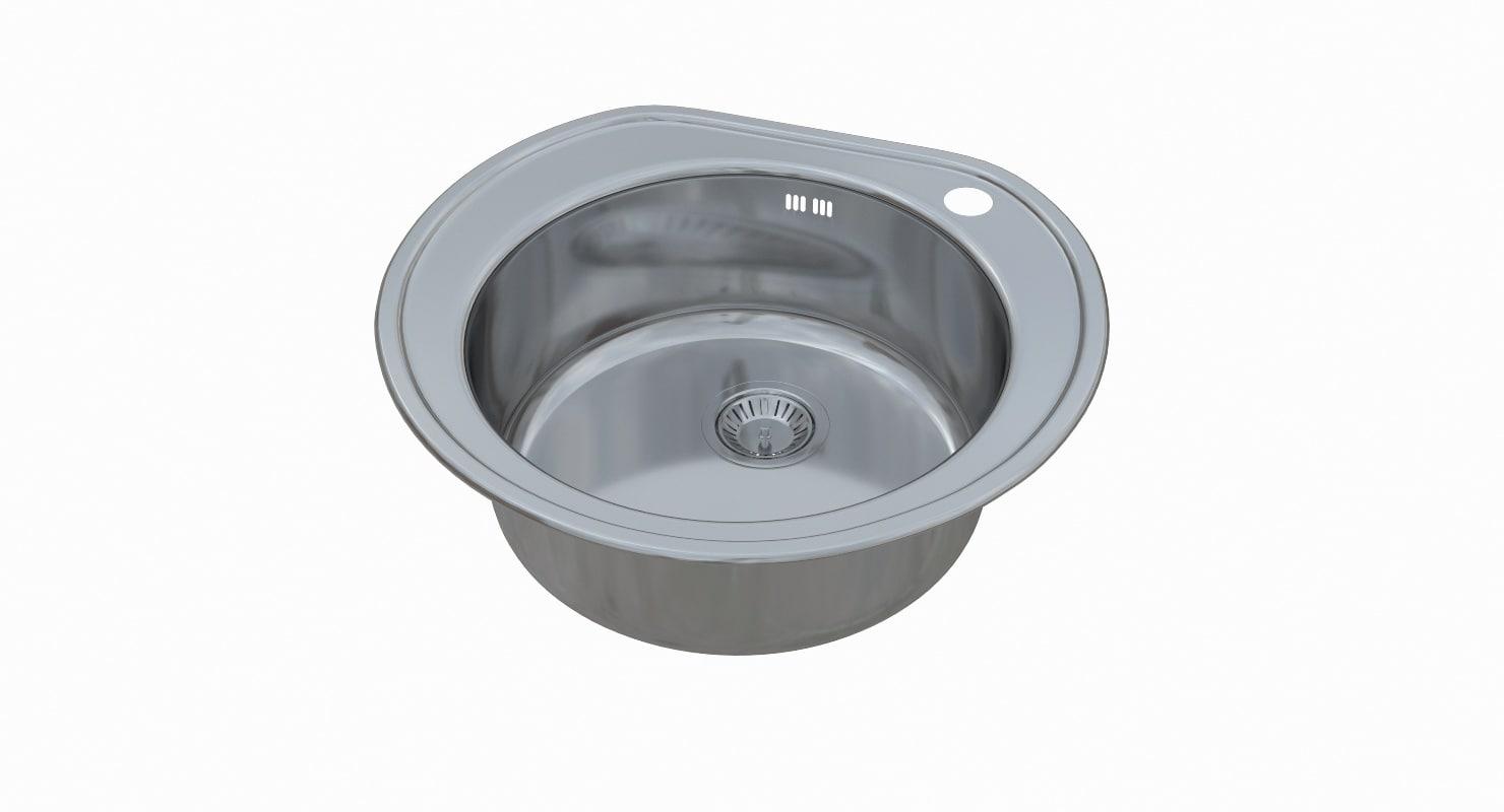 3D sink blanco rondoval model