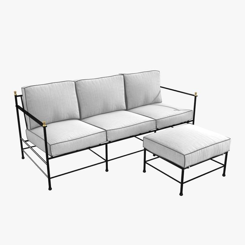 sofa ottoman kings lane 3D model