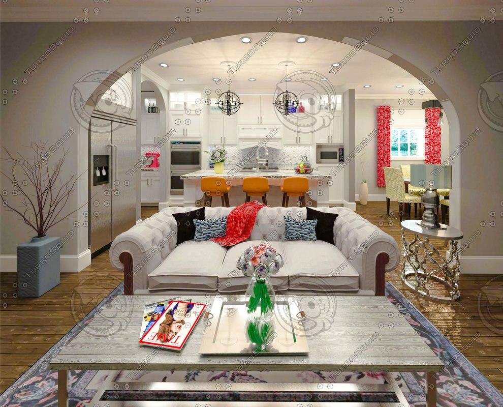 kitchen living room model