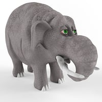 3D children plastic toy elephant cartoon