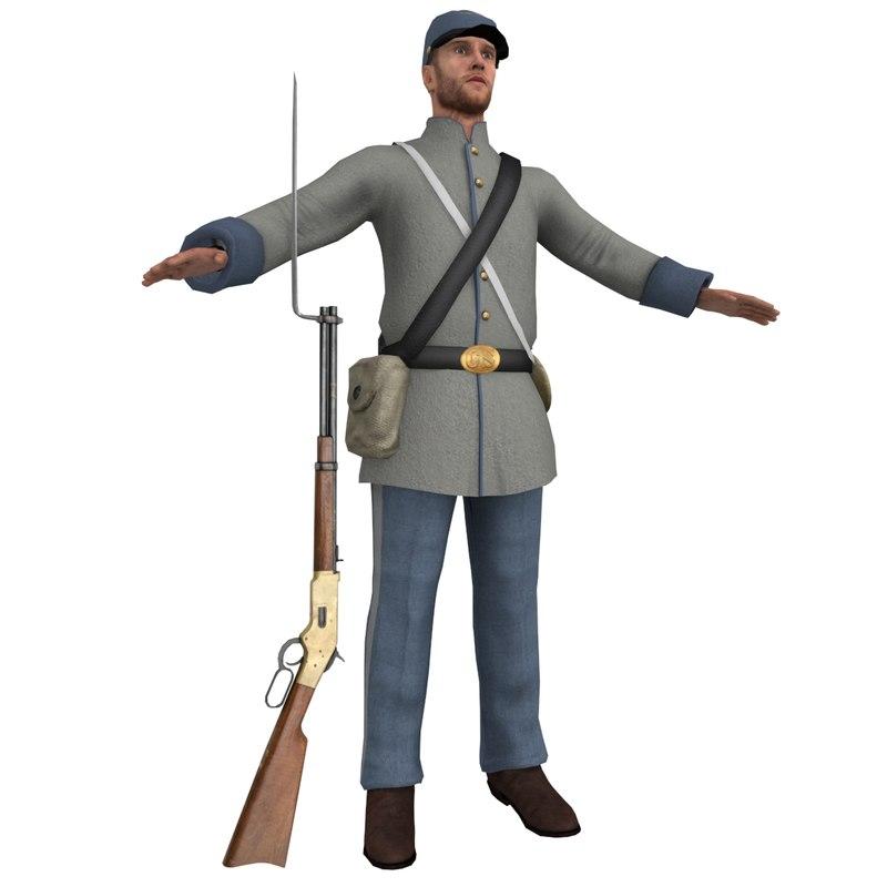 confederate soldier 3D model