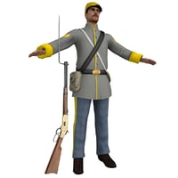 3D confederate soldier model