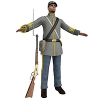 3D model confederate soldier