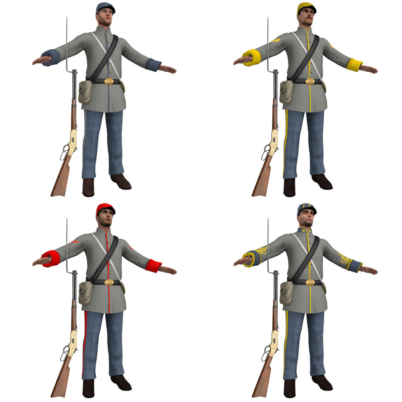 3D pack confederate soldiers