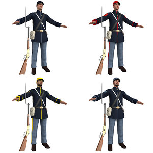 pack union soldiers 3D model