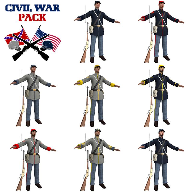 3D civil war soldiers pack