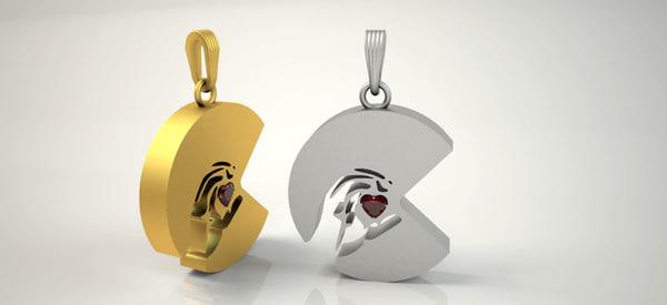 3D c letter pendant women