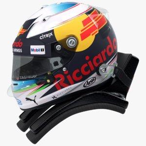 racing helmet daniel ricciardo 3D model