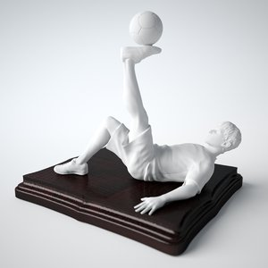 3D freestyle football soccer statue model