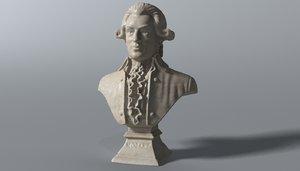 3D mozart bust model