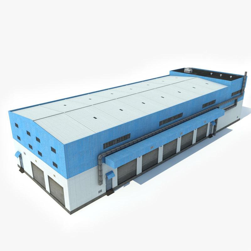 industrial building warehouse 3D model