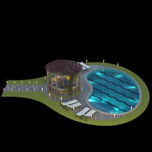 3D model gazebo swimming pool