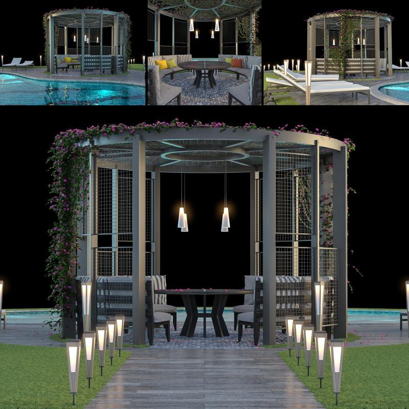 3D model gazebo swimming pool