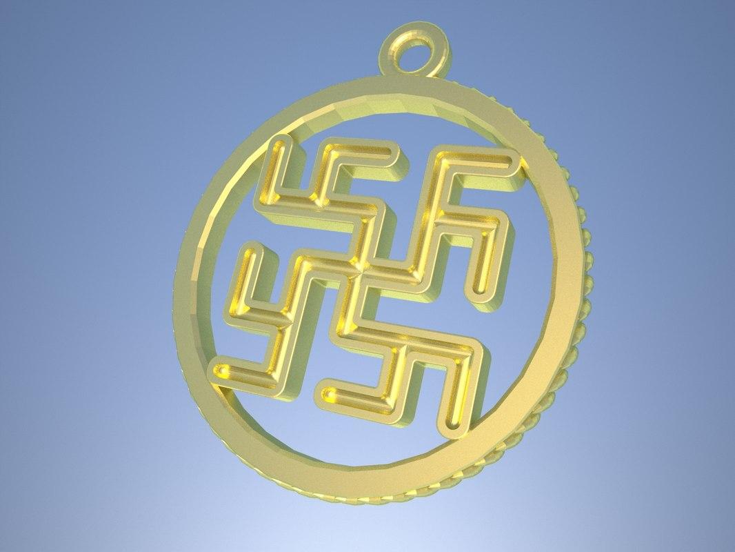 3D model slavic pagan amulet cvetok