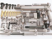 3D set screw bolt nuts model