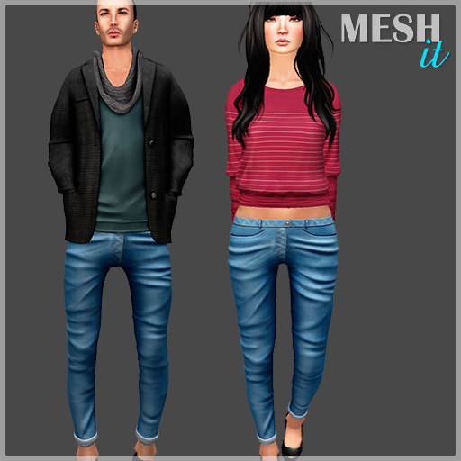 3D female male jeans