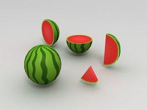 3D melon watermelon