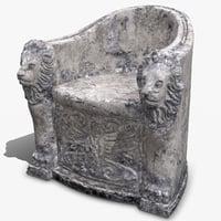 3D roman stone chair