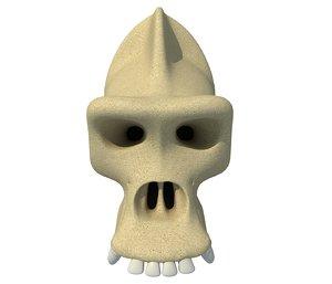 3D gorilla skull skeleton