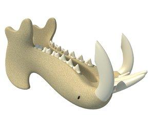 3D river horse jaw model