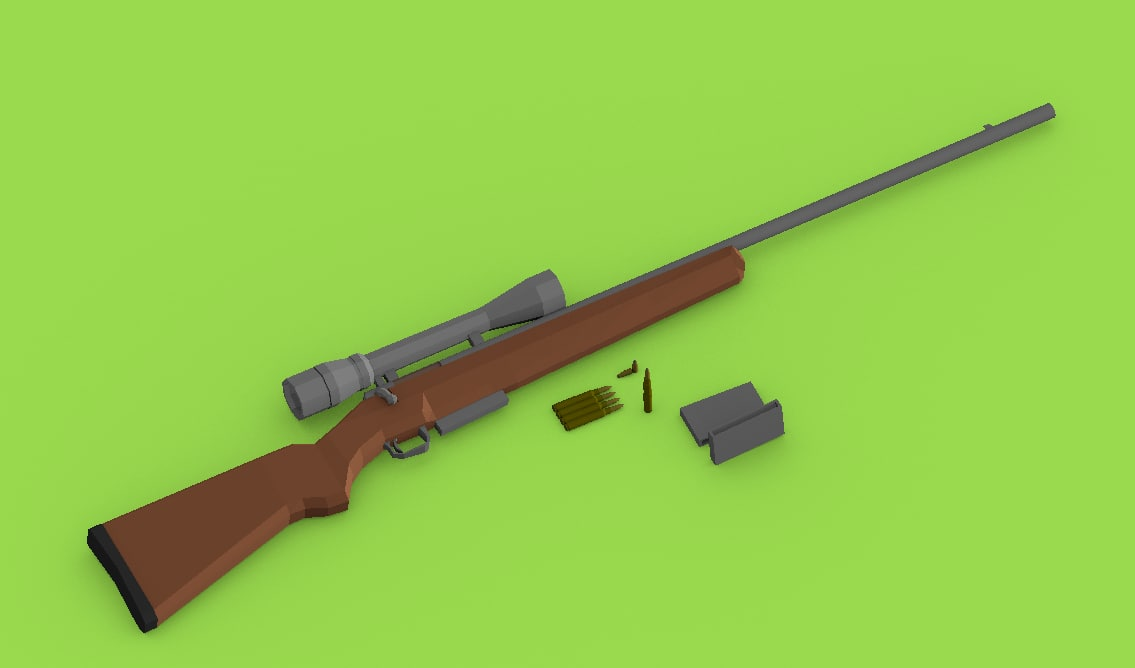 low-poly bolt action rifle scope 3D model